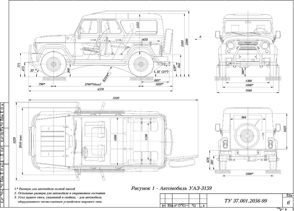 Размеры УАЗ Барс